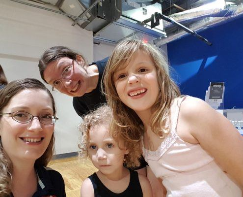 A selfie with two fencing Lizzes and their daughters