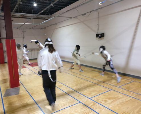 open fencing action shot