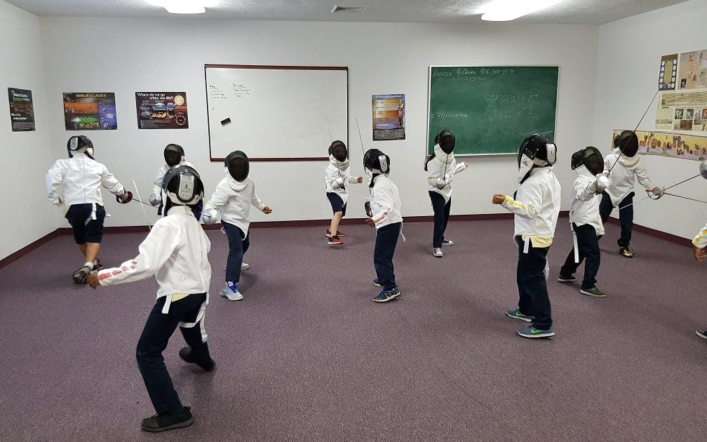 Westbury fencers practice bouting