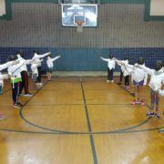 Campers at Bellaire salute