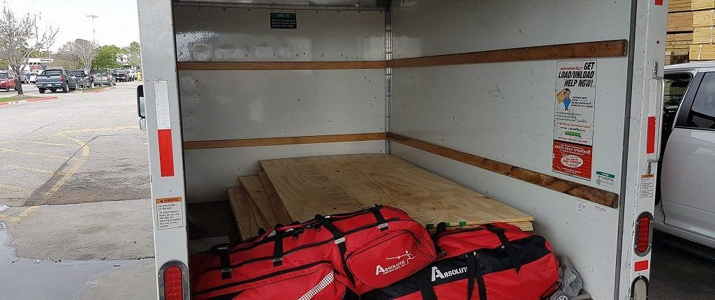 Buildout for a fencing club means you haul both gear and lumber