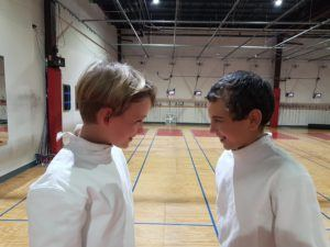 Charles and Pierre-Olivier, the two finalists for Y10, square off before their bout.