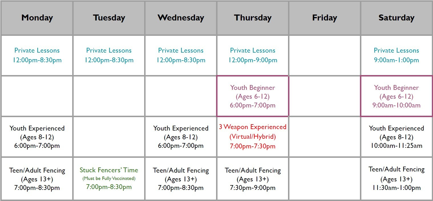 Full schedule of classes and private lessons in visual form