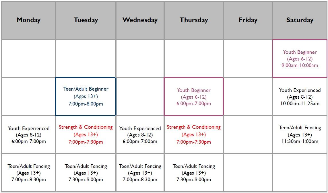 The weekly schedule in graph form. Call 832-674-0774 to speak to us about the schedule.