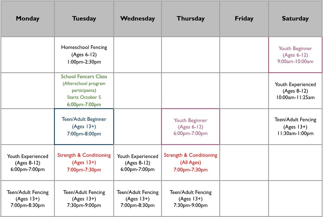 Full schedule in visual form. Call 832-674-0774 for details.